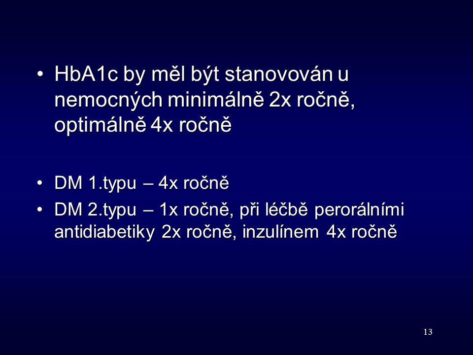 13 HbA1c by měl být stanovován u nemocných minimálně 2x ročně, optimálně 4x ročněHbA1c by měl být stanovován u nemocných minimálně 2x ročně, optimálně