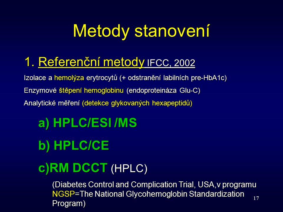 17 Metody stanovení 1.Referenční metody IFCC, 2002 Izolace a hemolýza erytrocytů (+ odstranění labilních pre-HbA1c) Enzymové štěpení hemoglobinu (endo