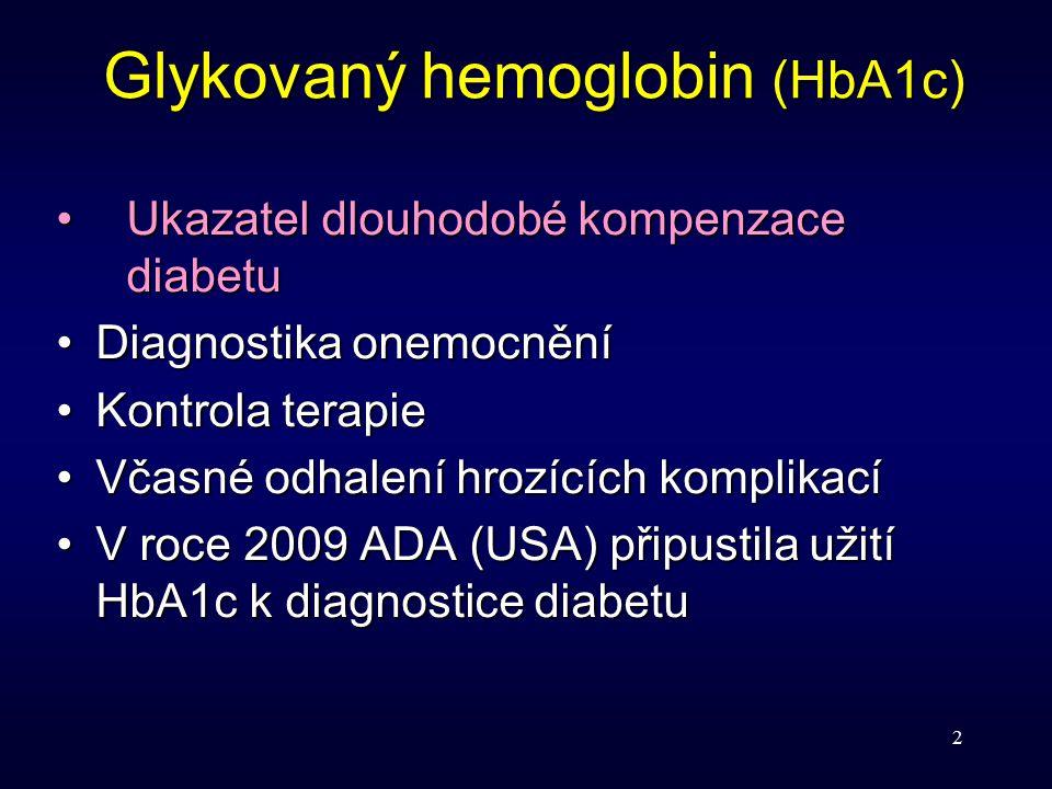 2 Ukazatel dlouhodobé kompenzace diabetuUkazatel dlouhodobé kompenzace diabetu Diagnostika onemocněníDiagnostika onemocnění Kontrola terapieKontrola t