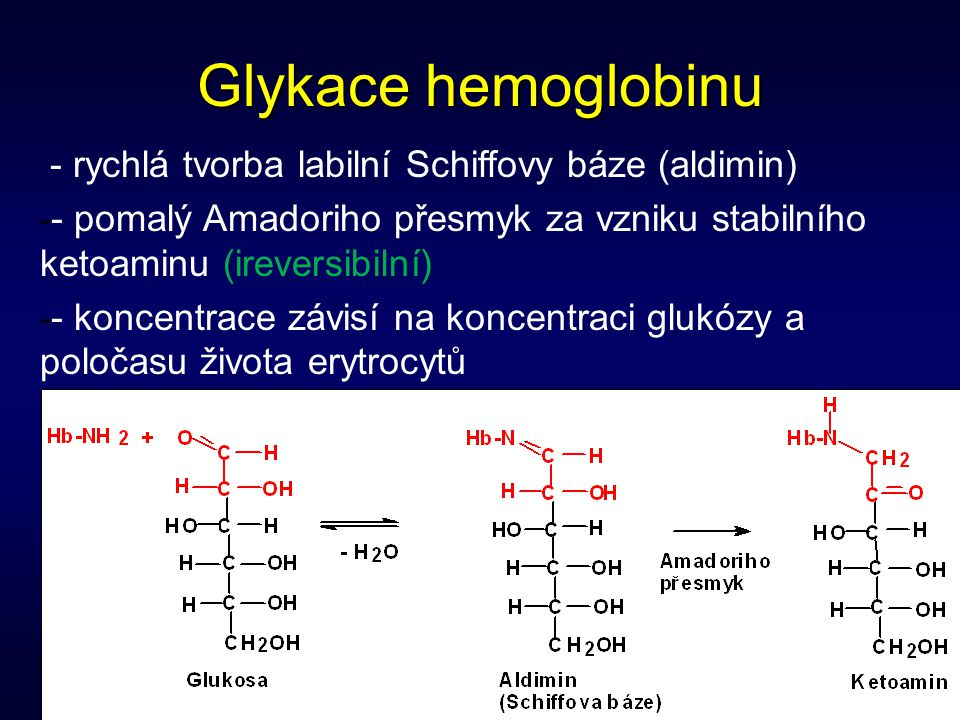 8 Glykace hemoglobinu - rychlá tvorba labilní Schiffovy báze (aldimin) - - pomalý Amadoriho přesmyk za vzniku stabilního ketoaminu (ireversibilní) - -