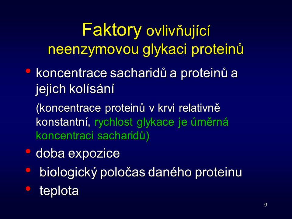 9 Faktory ovlivňující neenzymovou glykaci proteinů koncentrace sacharidů a proteinů a jejich kolísání koncentrace sacharidů a proteinů a jejich kolísá