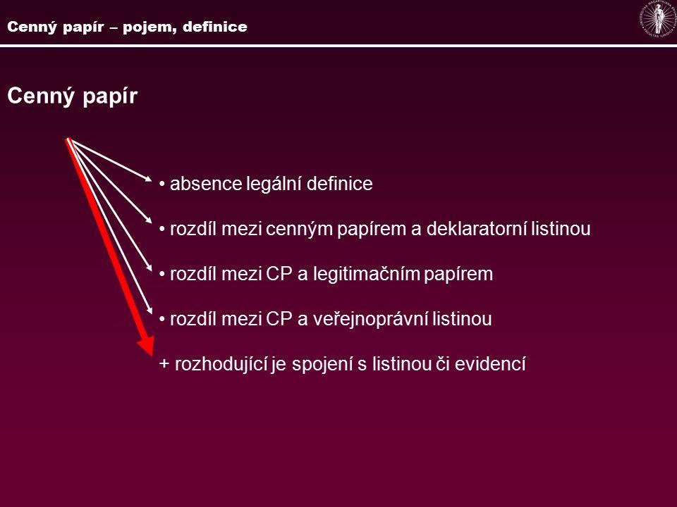 Cenný papír absence legální definice rozdíl mezi cenným papírem a deklaratorní listinou rozdíl mezi CP a legitimačním papírem rozdíl mezi CP a veřejnoprávní listinou + rozhodující je spojení s listinou či evidencí Cenný papír – pojem, definice