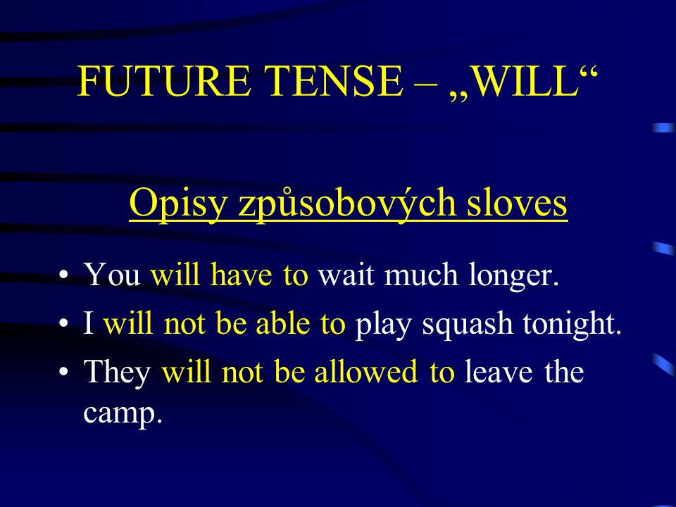 "FUTURE TENSE – ""WILL Opisy způsobových sloves You will have to wait much longer."