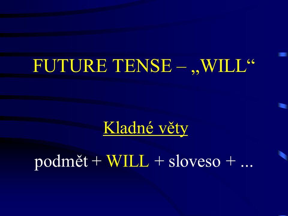 """FUTURE TENSE – """"WILL Záporné věty Podmět + WILL NOT + sloveso +"""