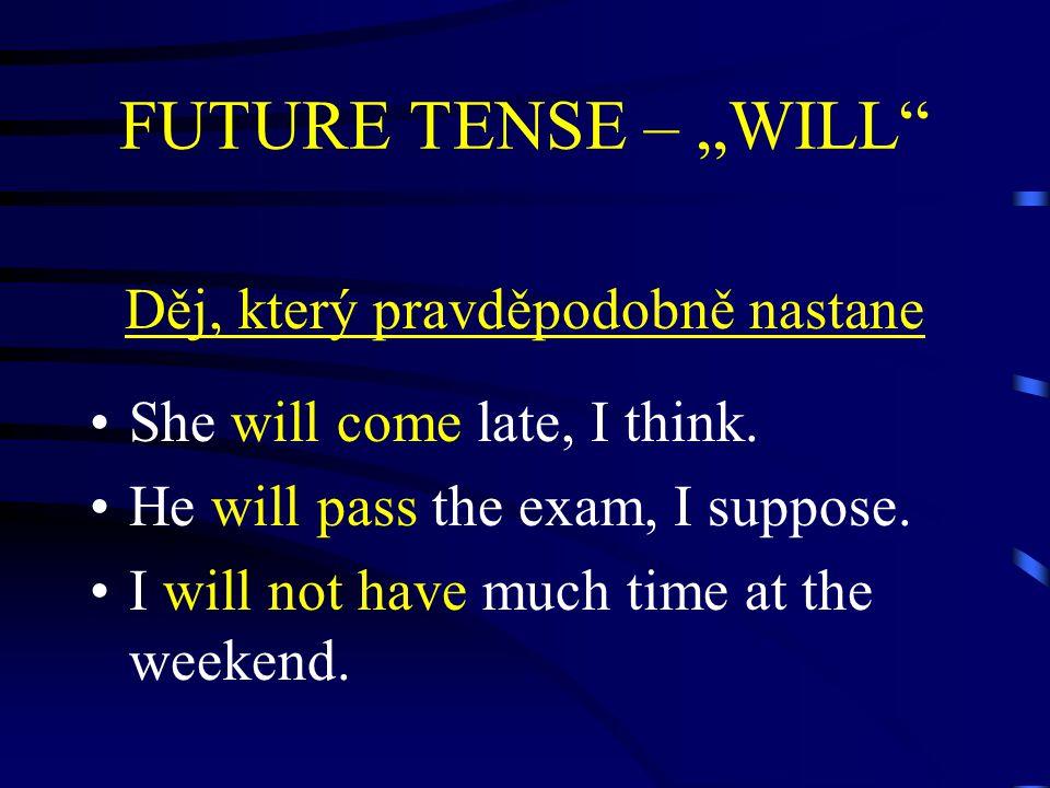 """FUTURE TENSE – """"WILL Děj, který pravděpodobně nastane She will come late, I think."""
