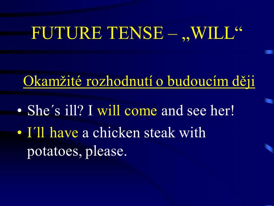 """FUTURE TENSE – """"WILL Tvrzení o budoucím ději There will be 7 billion people in 2030."""