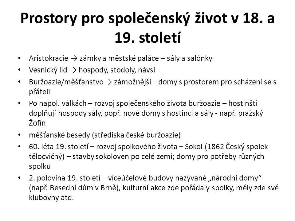 Prostory pro společenský život ve 20.století Stav po 2.