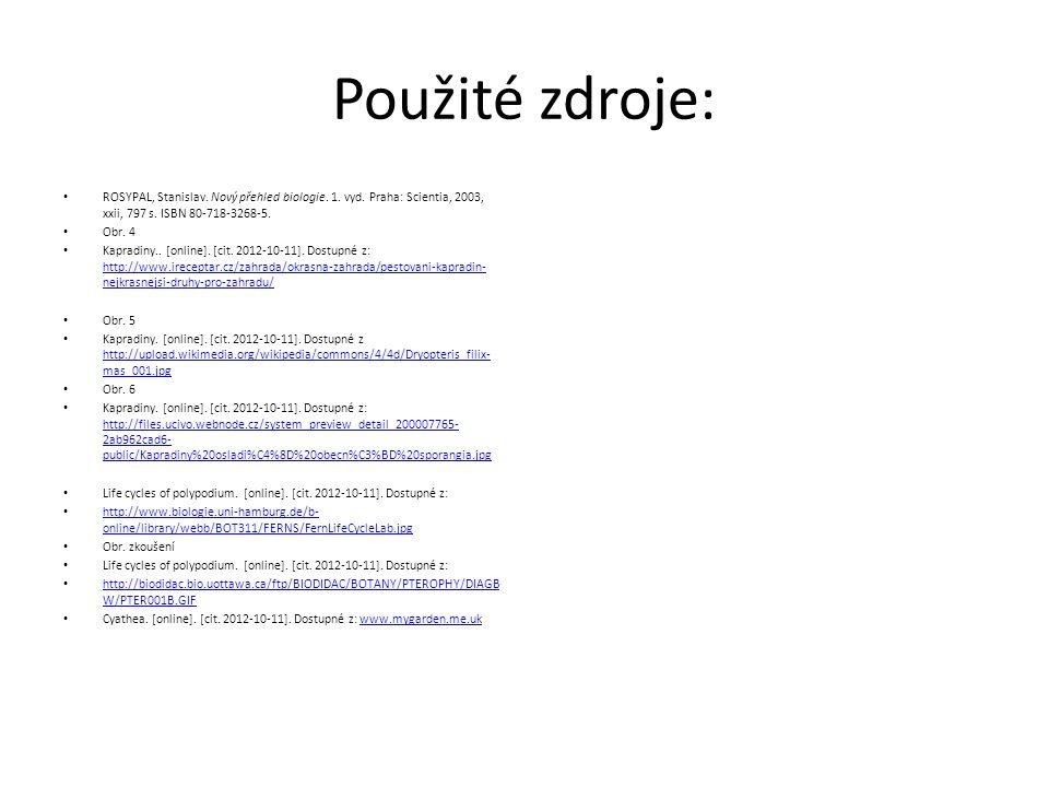 Použité zdroje: ROSYPAL, Stanislav. Nový přehled biologie.