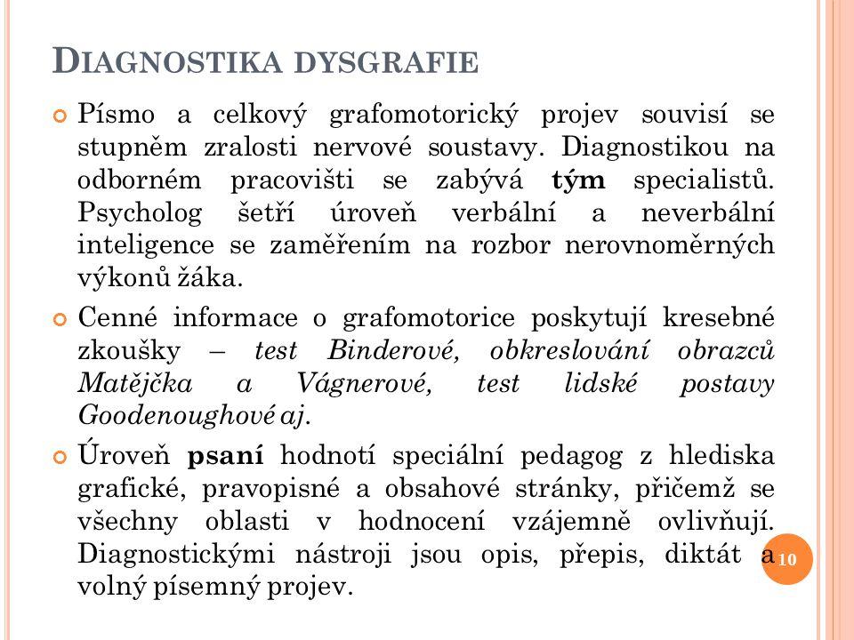 D IAGNOSTIKA DYSGRAFIE Písmo a celkový grafomotorický projev souvisí se stupněm zralosti nervové soustavy. Diagnostikou na odborném pracovišti se zabý