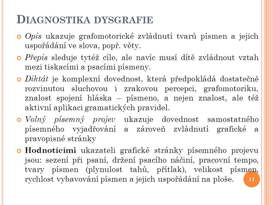 D IAGNOSTIKA DYSGRAFIE Opis ukazuje grafomotorické zvládnutí tvarů písmen a jejich uspořádání ve slova, popř. věty. Přepis sleduje tytéž cíle, ale nav