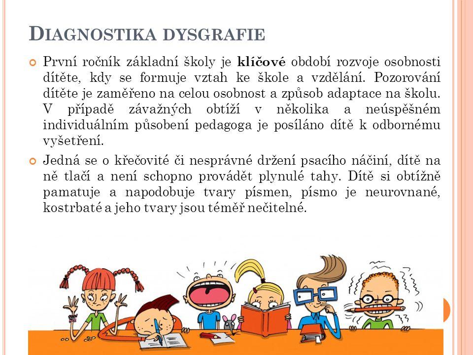 D IAGNOSTIKA DYSGRAFIE První ročník základní školy je klíčové období rozvoje osobnosti dítěte, kdy se formuje vztah ke škole a vzdělání. Pozorování dí