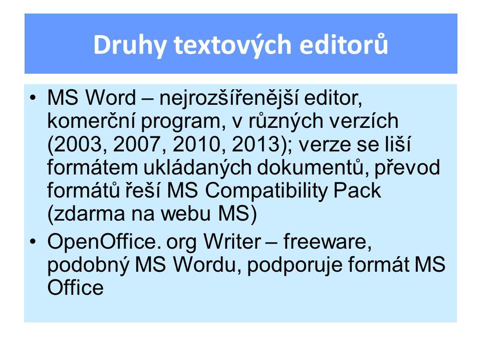 MS Word – nejrozšířenější editor, komerční program, v různých verzích (2003, 2007, 2010, 2013); verze se liší formátem ukládaných dokumentů, převod formátů řeší MS Compatibility Pack (zdarma na webu MS) OpenOffice.