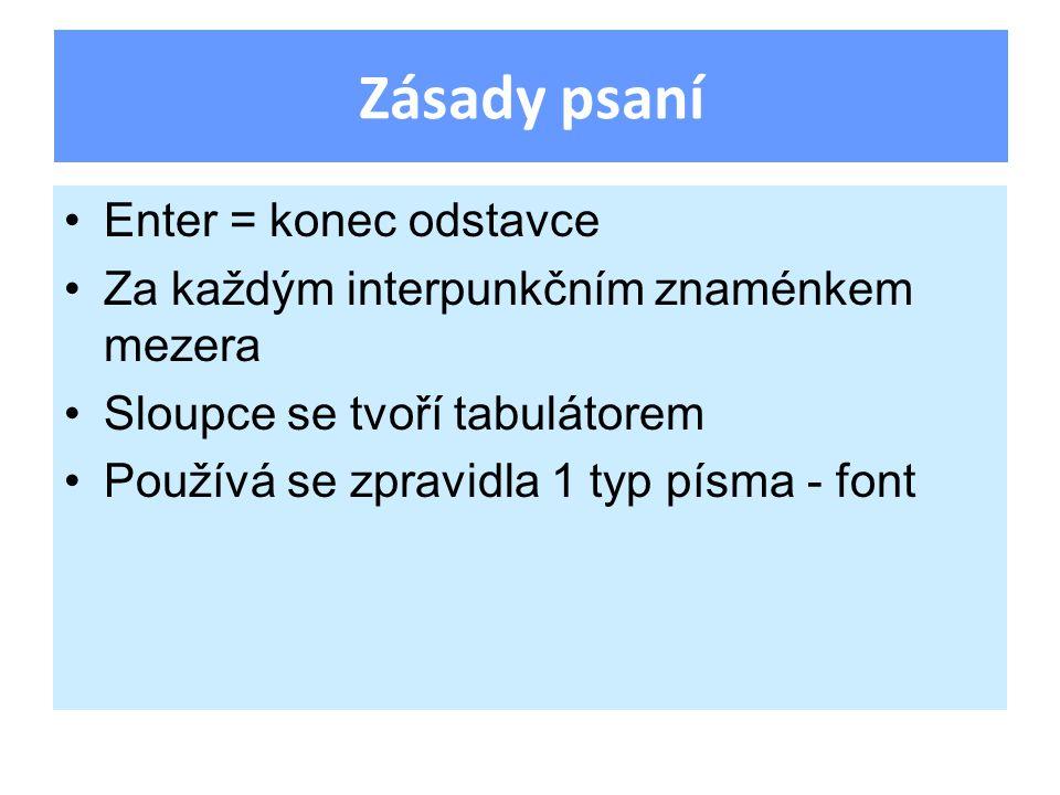 Enter = konec odstavce Za každým interpunkčním znaménkem mezera Sloupce se tvoří tabulátorem Používá se zpravidla 1 typ písma - font Zásady psaní