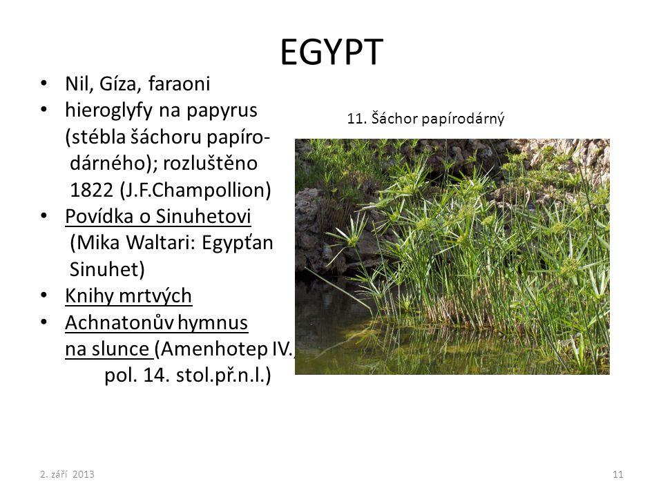 EGYPT Nil, Gíza, faraoni hieroglyfy na papyrus (stébla šáchoru papíro- dárného); rozluštěno 1822 (J.F.Champollion) Povídka o Sinuhetovi (Mika Waltari:
