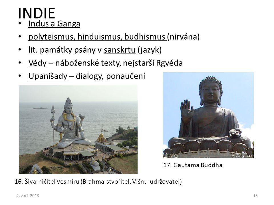 INDIE Indus a Ganga polyteismus, hinduismus, budhismus (nirvána) lit. památky psány v sanskrtu (jazyk) Védy – náboženské texty, nejstarší Rgvéda Upani