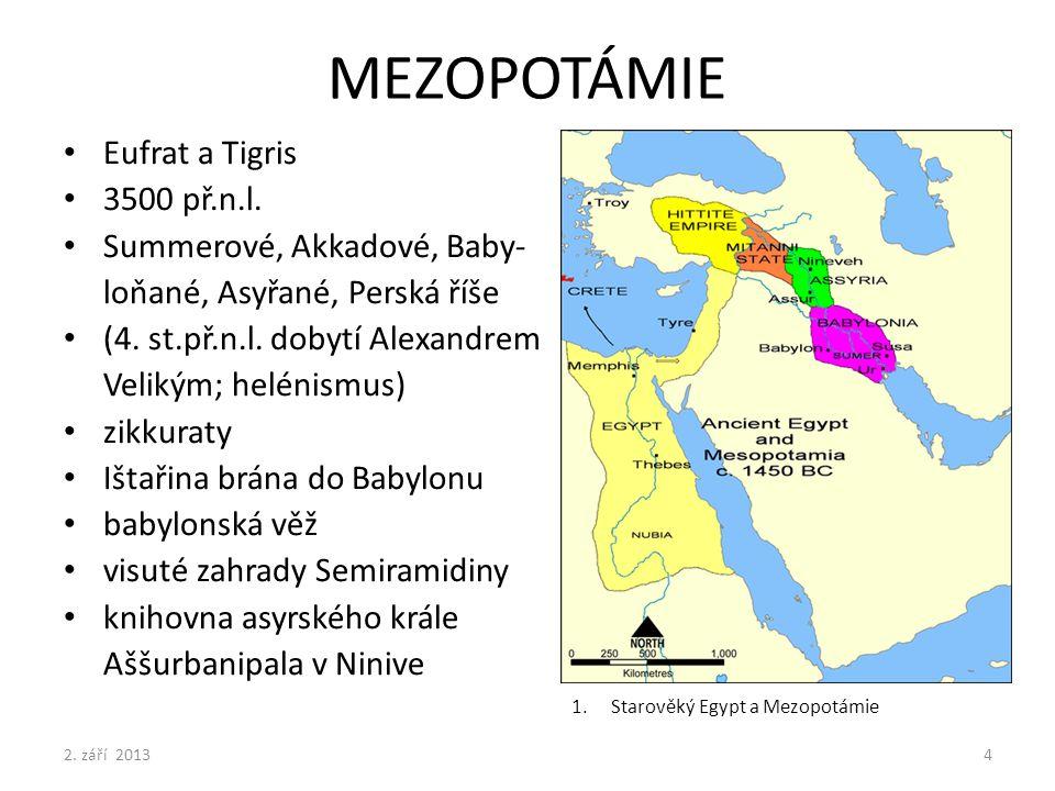MEZOPOTÁMIE Eufrat a Tigris 3500 př.n.l. Summerové, Akkadové, Baby- loňané, Asyřané, Perská říše (4. st.př.n.l. dobytí Alexandrem Velikým; helénismus)