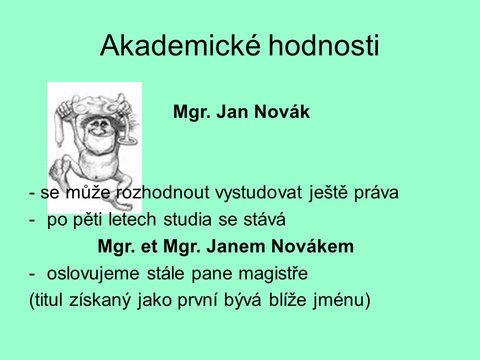 Akademické hodnosti Mgr.