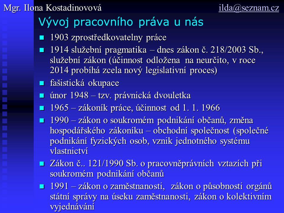 Vývoj pracovního práva u nás 1903 zprostředkovatelny práce 1903 zprostředkovatelny práce 1914 služební pragmatika – dnes zákon č. 218/2003 Sb., služeb