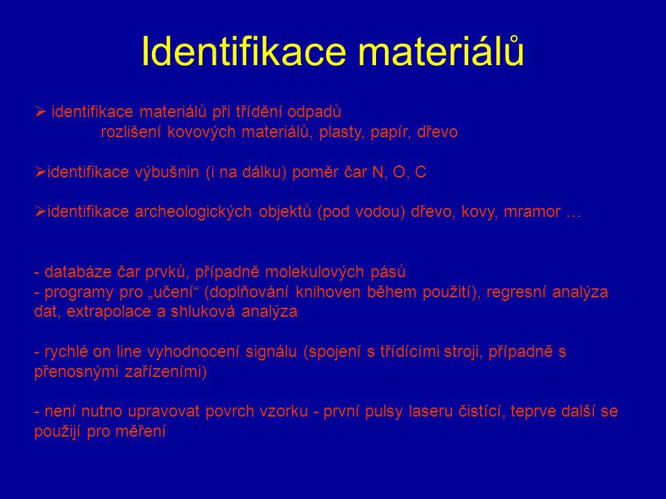 Identifikace materiálů  identifikace materiálů při třídění odpadů rozlišení kovových materiálů, plasty, papír, dřevo  identifikace výbušnin (i na dá
