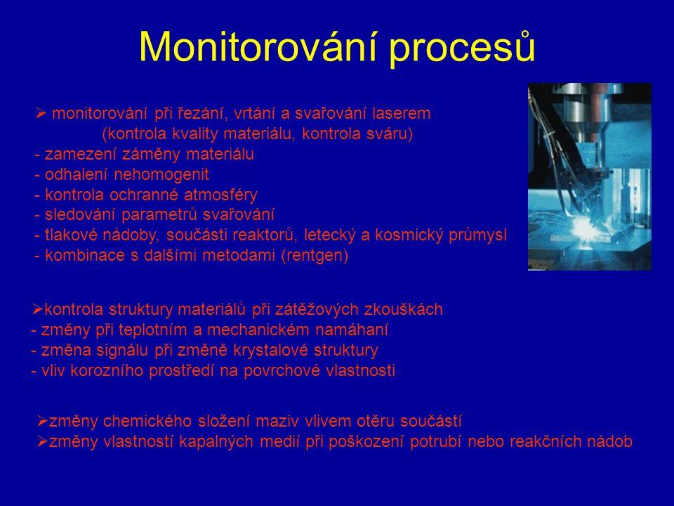 Monitorování procesů  monitorování při řezání, vrtání a svařování laserem (kontrola kvality materiálu, kontrola sváru) - zamezení záměny materiálu -