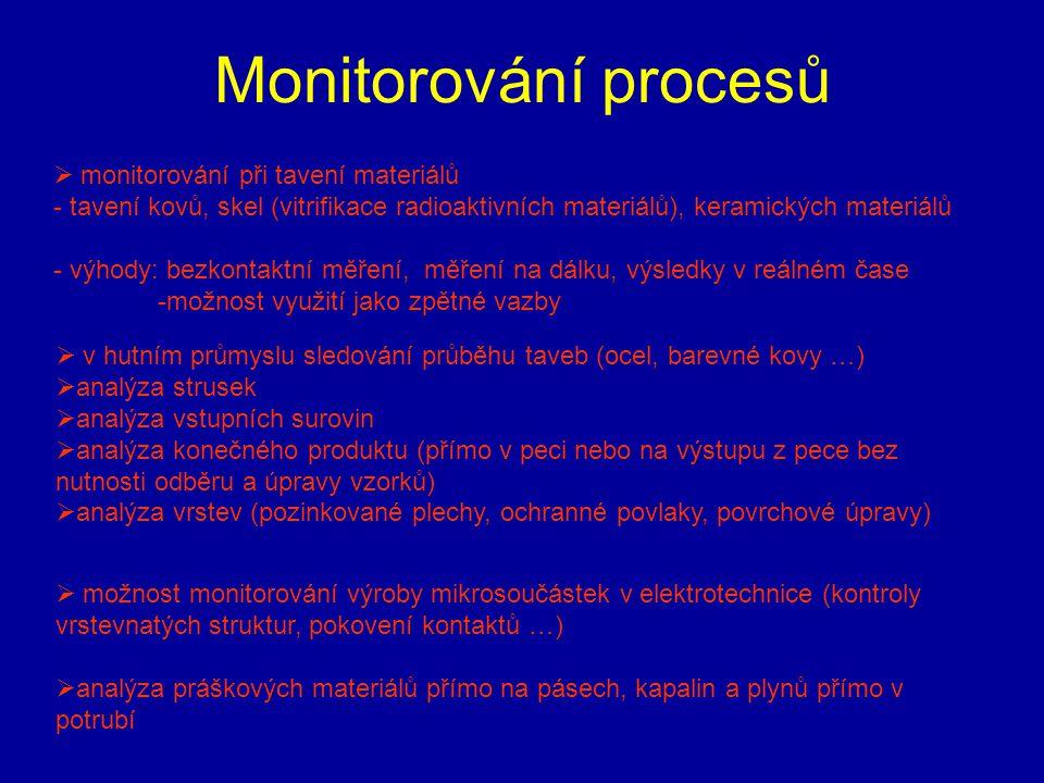 Monitorování procesů  monitorování při tavení materiálů - tavení kovů, skel (vitrifikace radioaktivních materiálů), keramických materiálů - výhody: b