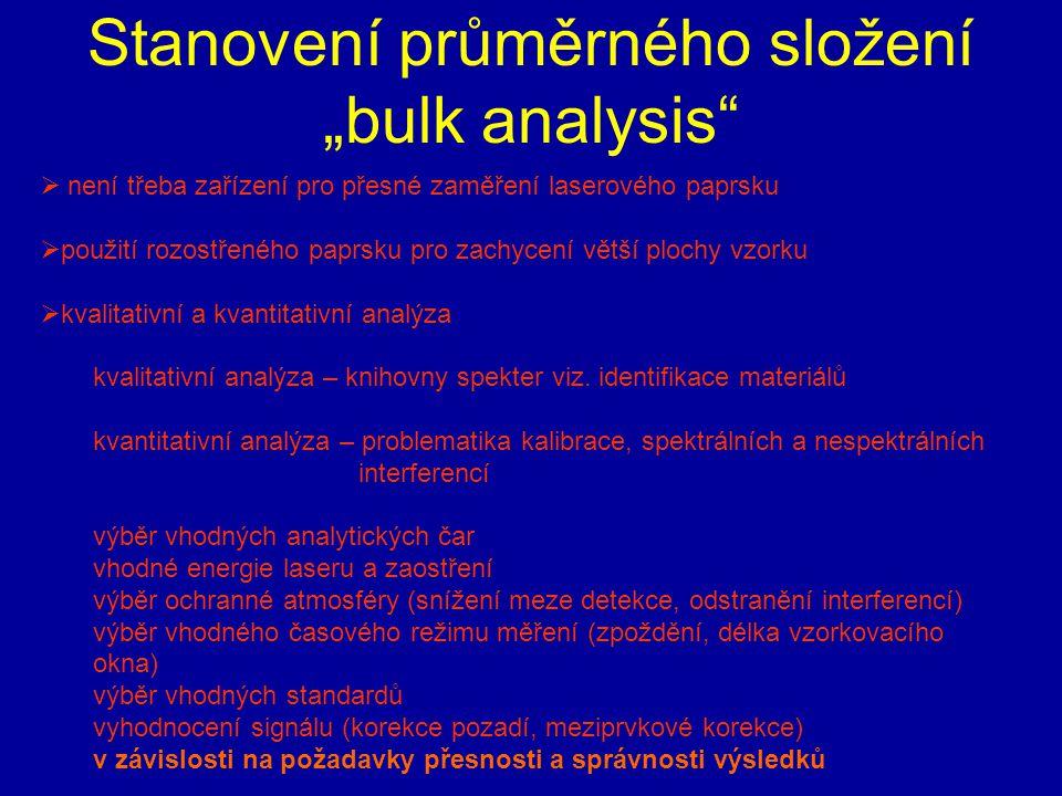 """Stanovení průměrného složení """"bulk analysis""""  není třeba zařízení pro přesné zaměření laserového paprsku  použití rozostřeného paprsku pro zachycení"""