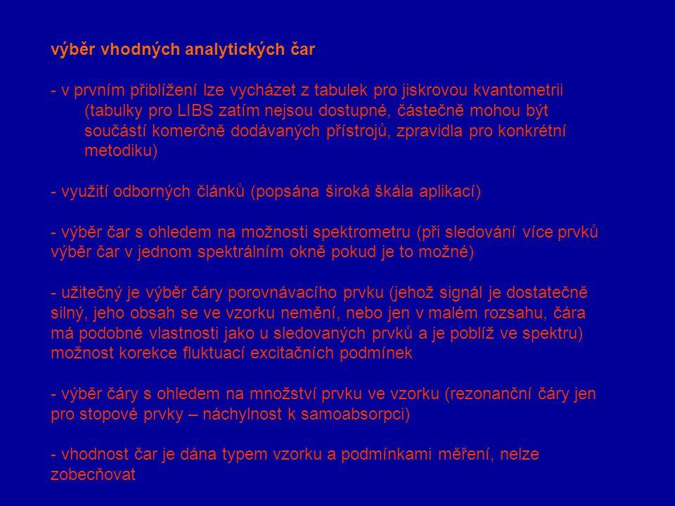 výběr vhodných analytických čar - v prvním přiblížení lze vycházet z tabulek pro jiskrovou kvantometrii (tabulky pro LIBS zatím nejsou dostupné, částe
