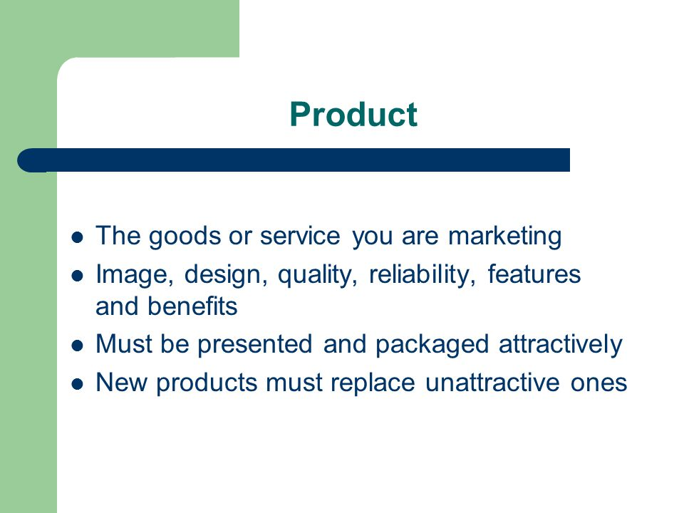 Price Should include: The value of the product The quality The customer´s ability to buy it Prices of competitors