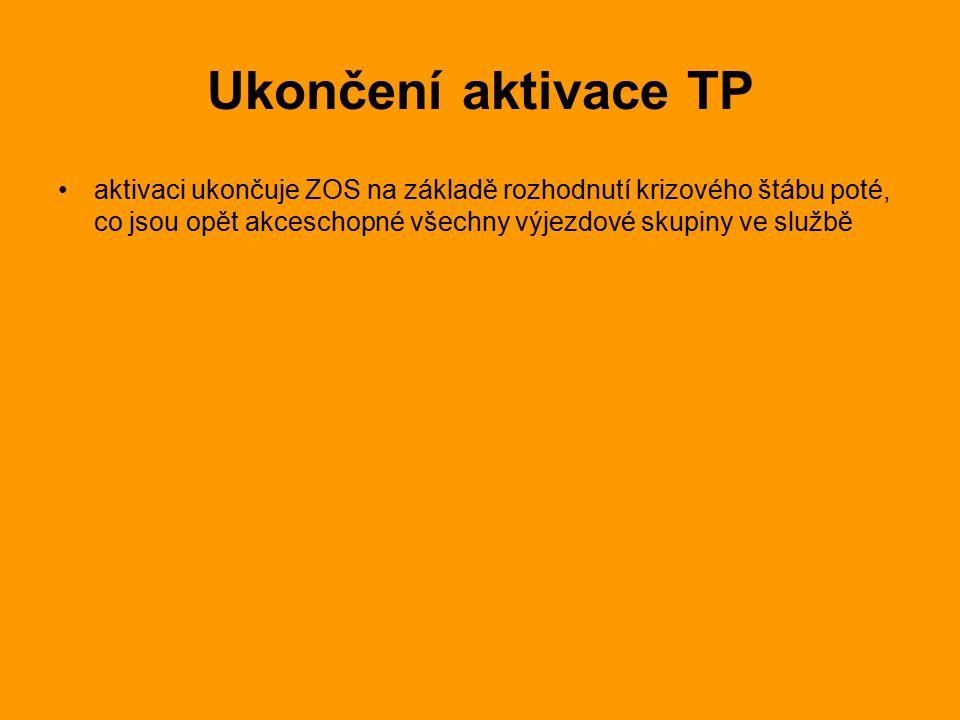 Ukončení aktivace TP aktivaci ukončuje ZOS na základě rozhodnutí krizového štábu poté, co jsou opět akceschopné všechny výjezdové skupiny ve službě