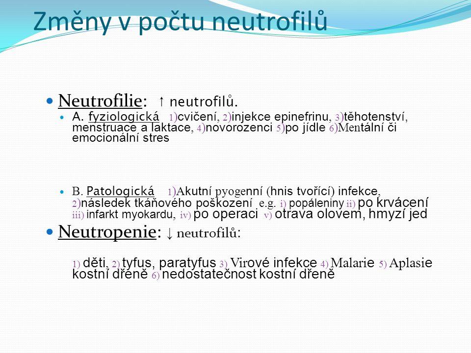 Změny v počtu neutrofilů Neutrofilie: ↑ neutrofilů.