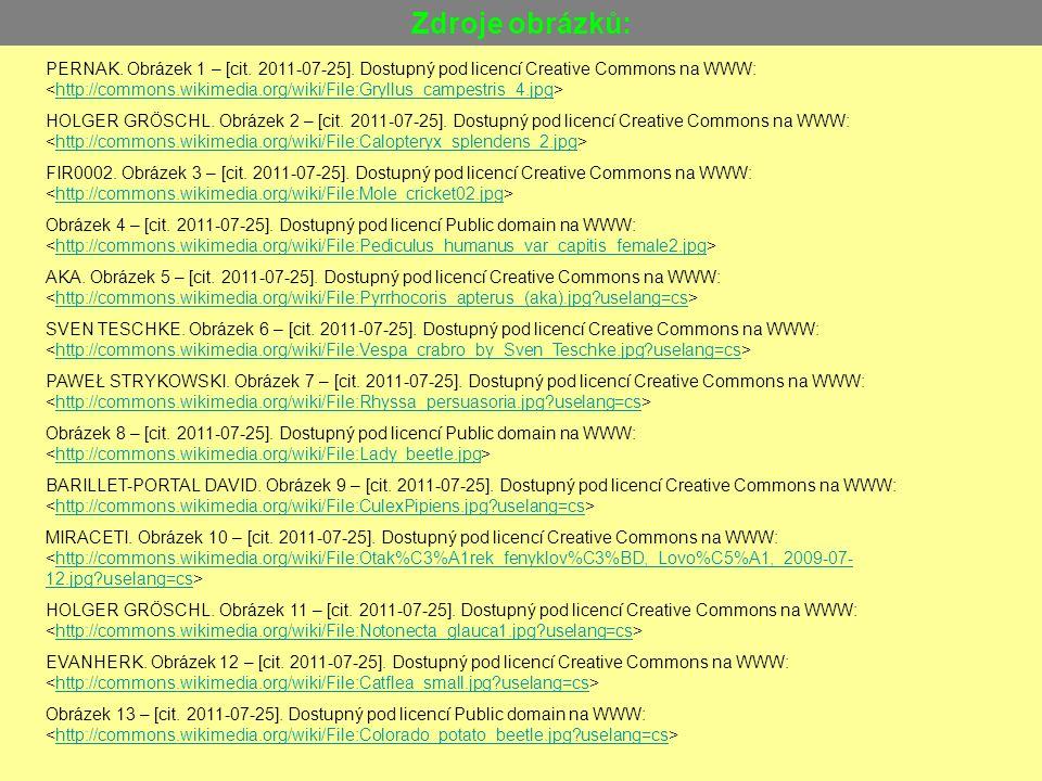 Zdroje obrázků: PERNAK. Obrázek 1 – [cit. 2011-07-25]. Dostupný pod licencí Creative Commons na WWW: http://commons.wikimedia.org/wiki/File:Gryllus_ca