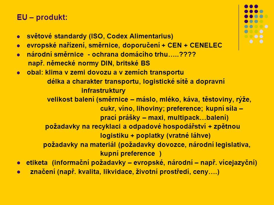 EU – produkt: světové standardy (ISO, Codex Alimentarius) evropské nařízení, směrnice, doporučení + CEN + CENELEC národní směrnice - ochrana domácího trhu….. .