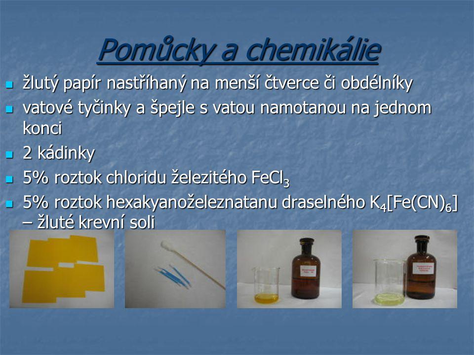 Pomůcky a chemikálie žlutý papír nastříhaný na menší čtverce či obdélníky žlutý papír nastříhaný na menší čtverce či obdélníky vatové tyčinky a špejle