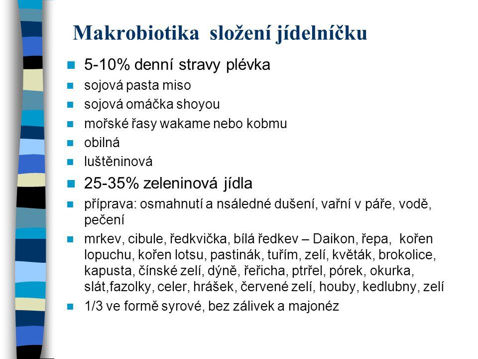 Makrobiotika složení jídelníčku 5-10% denní stravy plévka sojová pasta miso sojová omáčka shoyou mořské řasy wakame nebo kobmu obilná luštěninová 25-3