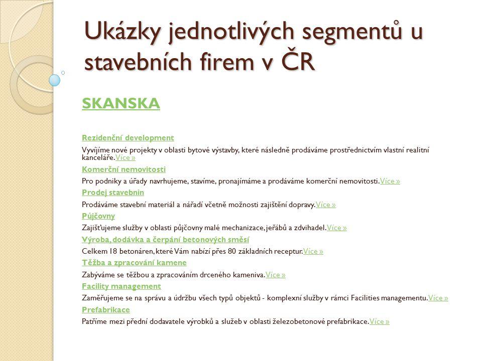 Ukázky jednotlivých segmentů u stavebních firem v ČR SKANSKA Rezidenční development Vyvíjíme nové projekty v oblasti bytové výstavby, které následně prodáváme prostřednictvím vlastní realitní kanceláře.