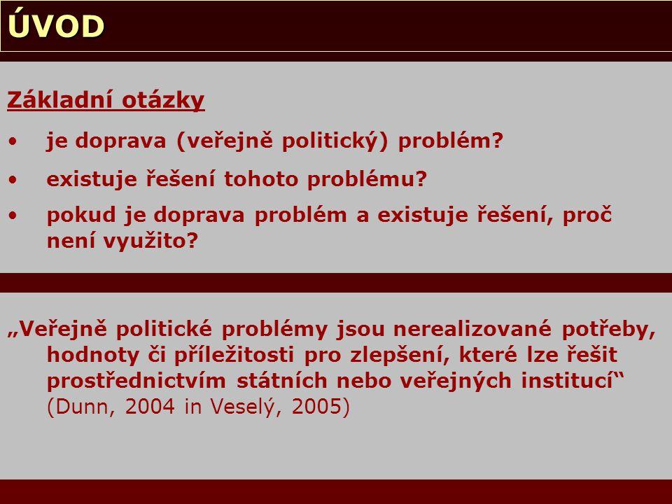 ÚVOD Základní odpovědi doprava je veřejně politický problém za možné řešení je považován koncept tzv.