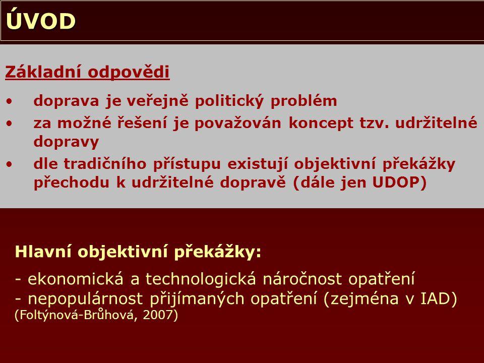 ÚVOD Přechodu k UDOP tudíž brání: nastavení institucionálního prostředí absence zřetelné definice problému/ů (udržitelné) dopravy Existují také další zásadní překážky.