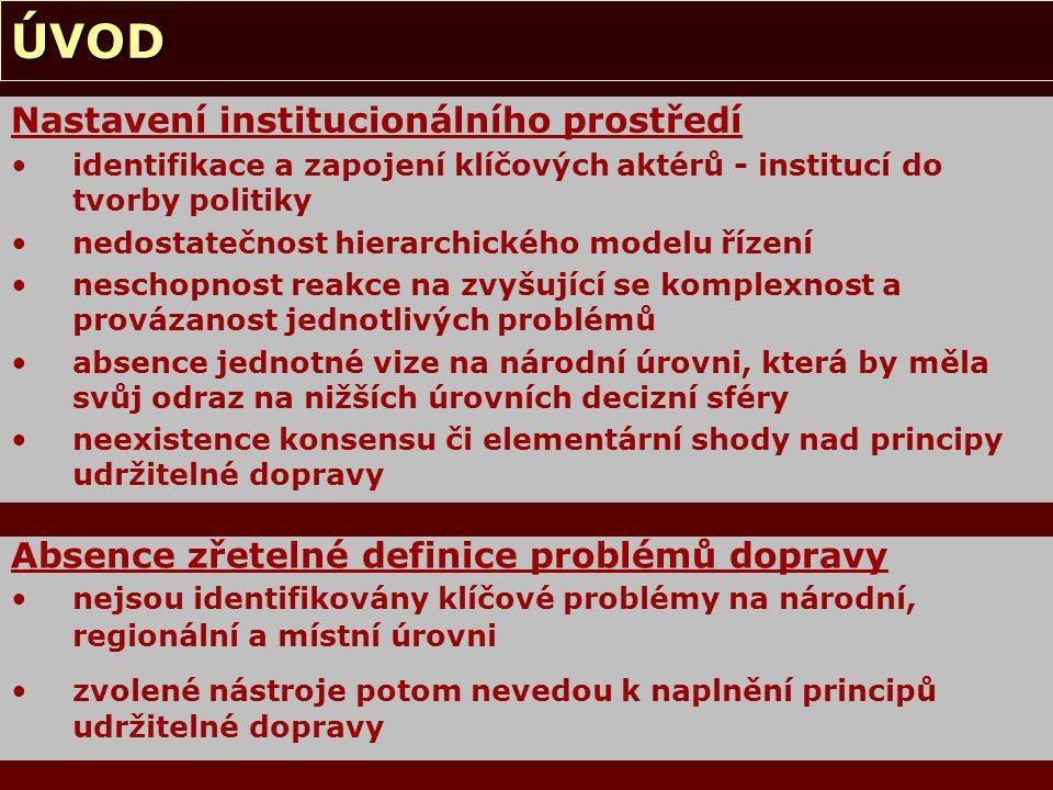 CÍLE PRÁCE Základními cíli práce jsou: identifikovat klíčové aktéry (sítě aktérů) zjistit, co je považováno v České republice těmito aktéry za problém v dopravě zjistit, které aspekty UDOP považují decision-makers za prioritní na místní, na regionální a na národní úrovni zjistit postoje klíčových aktérů mimo oblast veřejné správy zjistit rozdíly mezi vnímáním konceptu UDOP jednotlivými aktéry a normativním vymezením tohoto konceptu