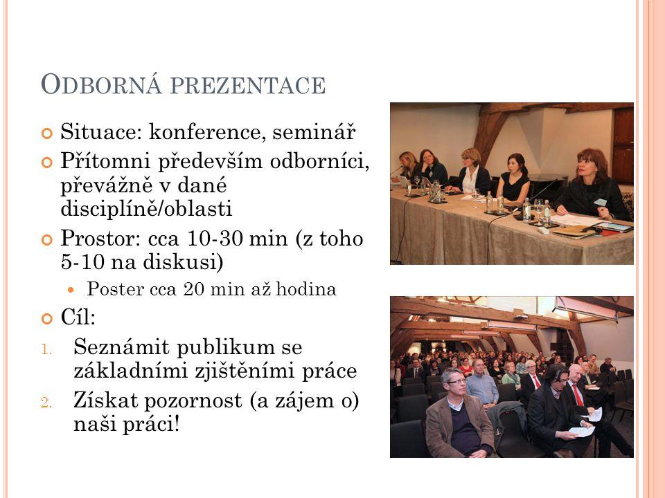 O DBORNÁ PREZENTACE Situace: konference, seminář Přítomni především odborníci, převážně v dané disciplíně/oblasti Prostor: cca 10-30 min (z toho 5-10 na diskusi) Poster cca 20 min až hodina Cíl: 1.
