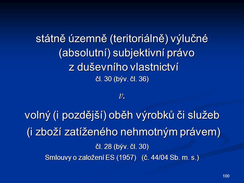 100 státně územně (teritoriálně) výlučné (absolutní) subjektivní právo z duševního vlastnictví z duševního vlastnictví čl.