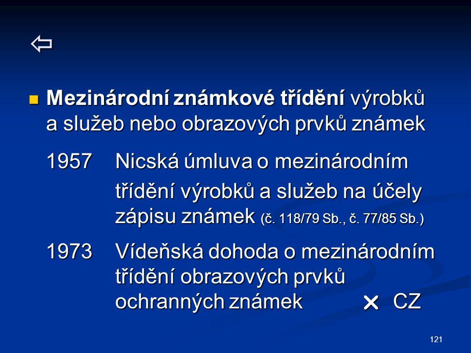121  Mezinárodní známkové třídění výrobků a služeb nebo obrazových prvků známek Mezinárodní známkové třídění výrobků a služeb nebo obrazových prvků známek 1957 Nicská úmluva o mezinárodním 1957 Nicská úmluva o mezinárodním třídění výrobků a služeb na účely třídění výrobků a služeb na účely zápisu známek (č.