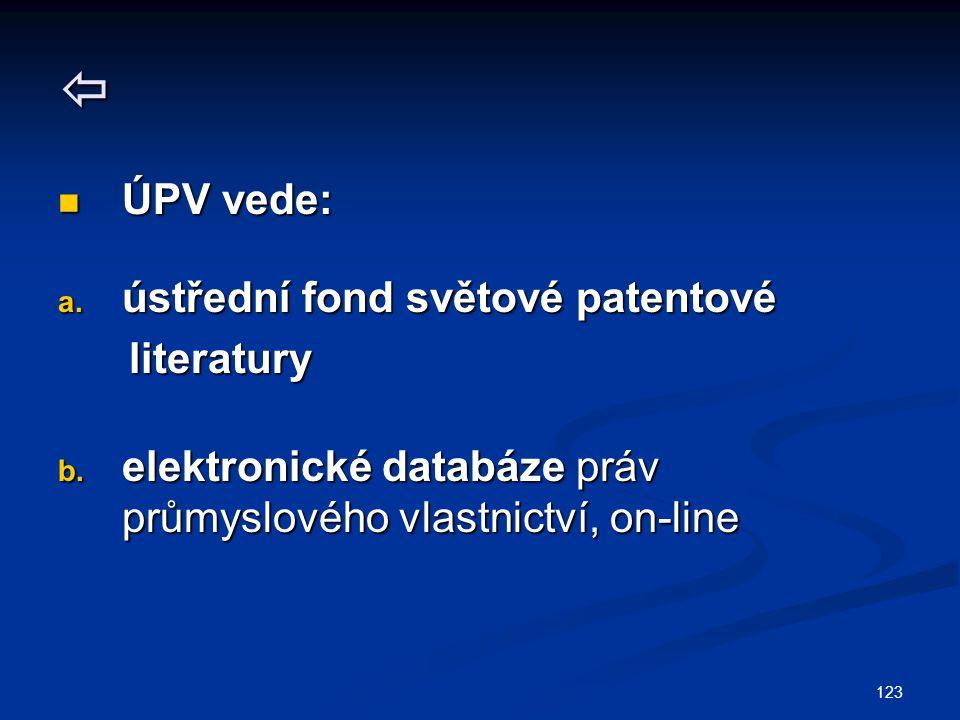 123  ÚPV vede: ÚPV vede: a. ústřední fond světové patentové literatury literatury b.