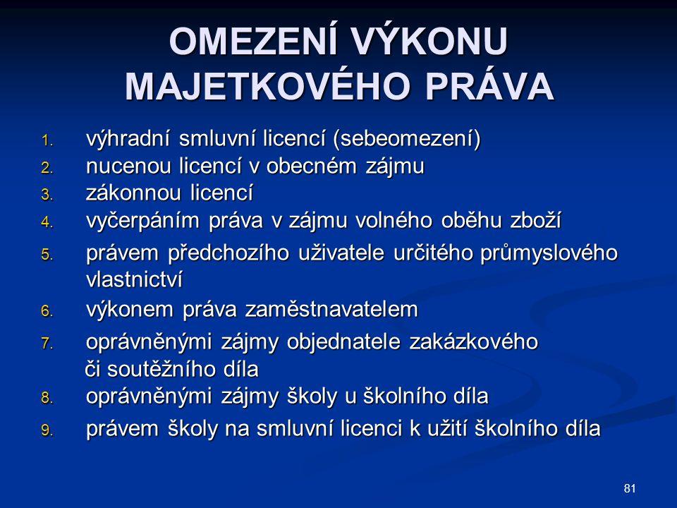 81 OMEZENÍ VÝKONU MAJETKOVÉHO PRÁVA 1. výhradní smluvní licencí (sebeomezení) 2.