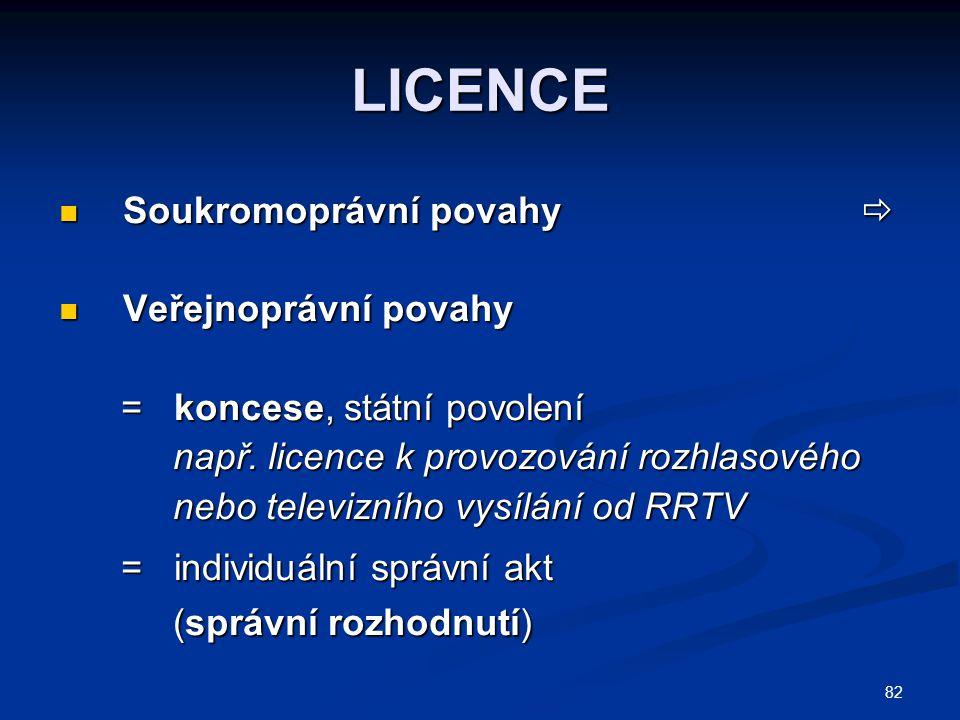 82 LICENCE Soukromoprávní povahy  Soukromoprávní povahy  Veřejnoprávní povahy Veřejnoprávní povahy = koncese, státní povolení = koncese, státní povolení např.