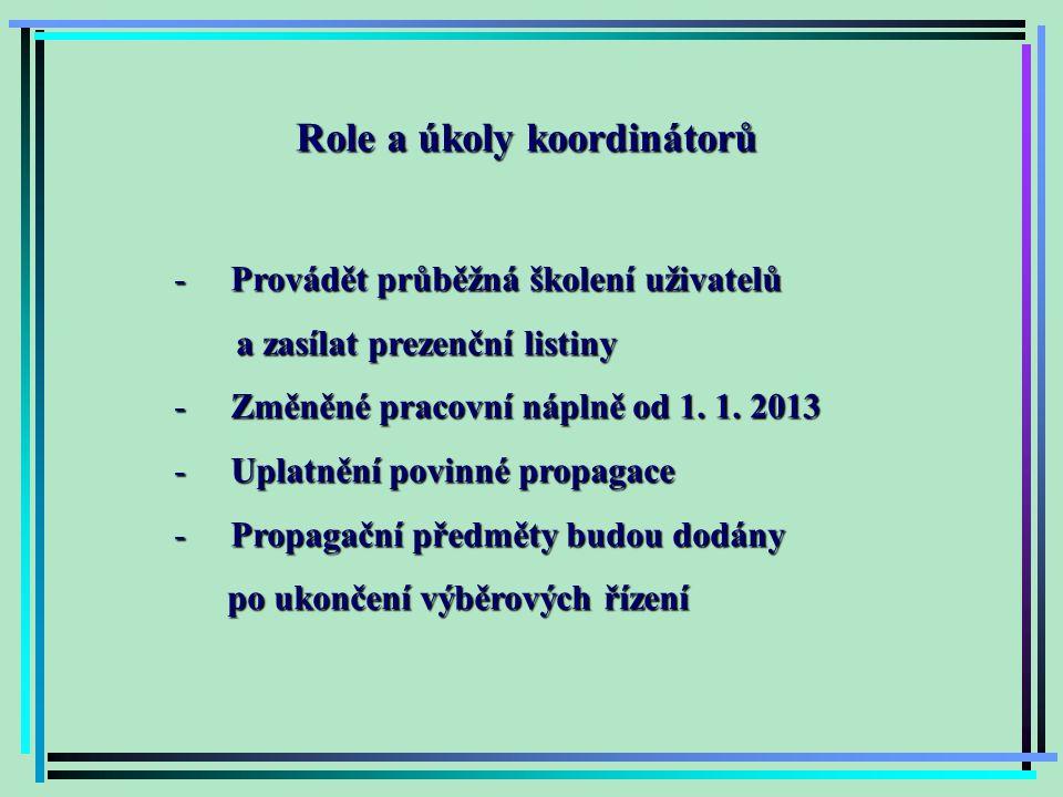 Role a úkoly koordinátorů - Provádět průběžná školení uživatelů a zasílat prezenční listiny a zasílat prezenční listiny - Změněné pracovní náplně od 1.