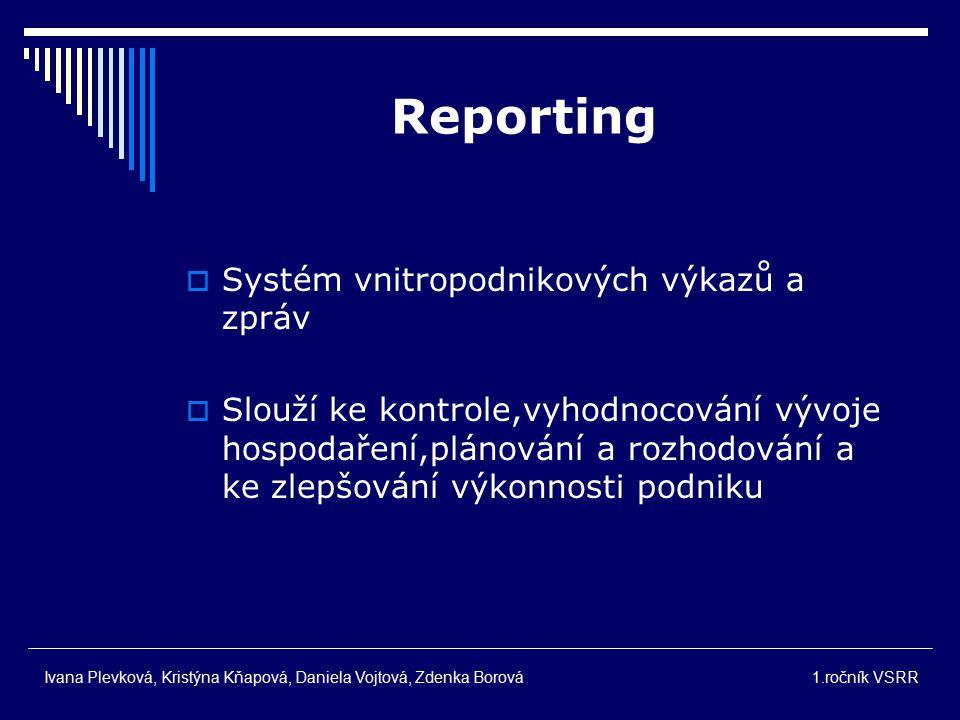 Kroky zpracování report. Sběr potřeb. údajů  Zprac.