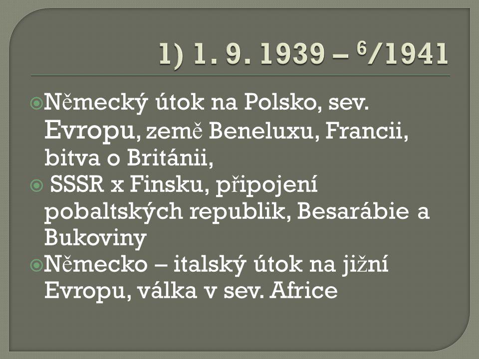  N ě mecký útok na Polsko, sev. Evropu, zem ě Beneluxu, Francii, bitva o Británii,  SSSR x Finsku, p ř ipojení pobaltských republik, Besarábie a Buk