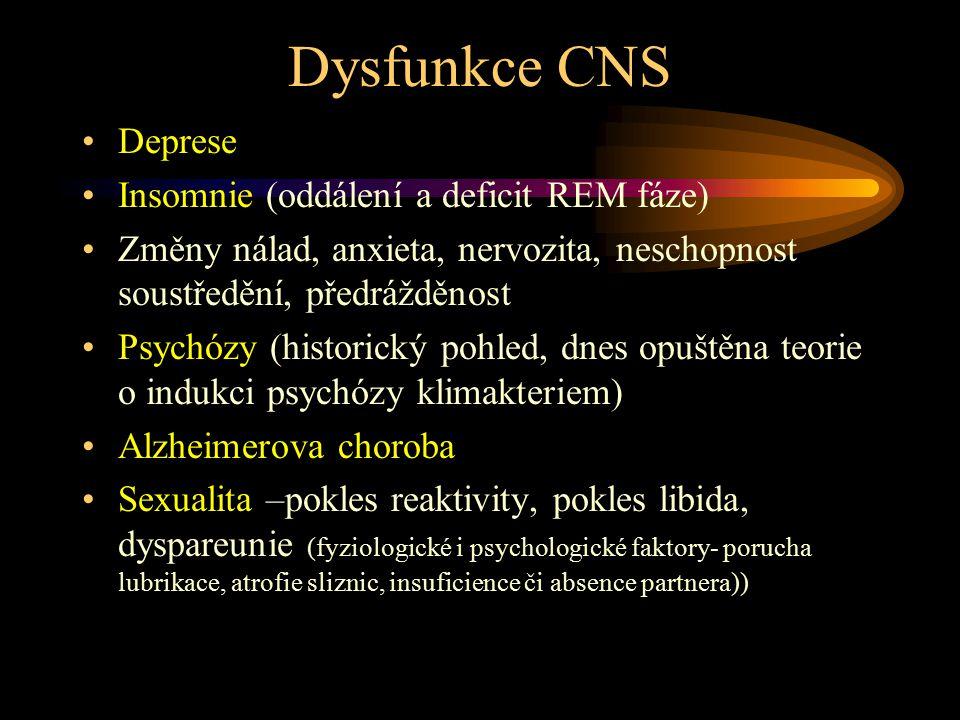 Dysfunkce CNS Deprese Insomnie (oddálení a deficit REM fáze) Změny nálad, anxieta, nervozita, neschopnost soustředění, předrážděnost Psychózy (histori