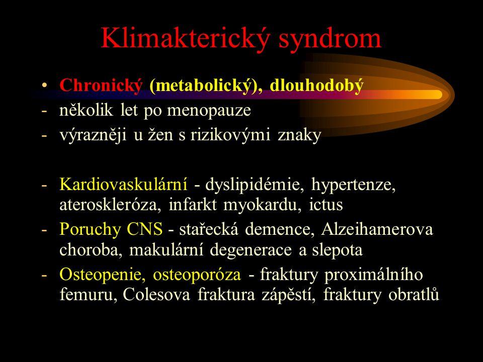 Klimakterický syndrom Chronický (metabolický), dlouhodobý -několik let po menopauze -výrazněji u žen s rizikovými znaky -Kardiovaskulární - dyslipidém