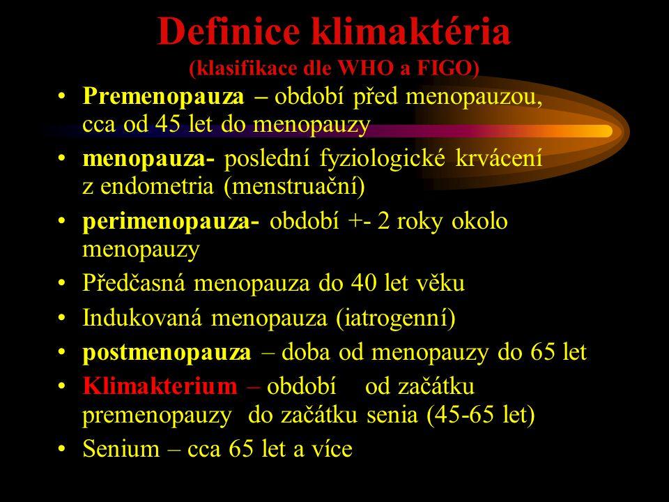 Důsledky postmenopauzálního hypoestrinismu, symptomy estrogenního deficitu Mnohočetné - urogenitální oblast (atrofizace kůže, sliznic – atrofická vaginitis, uretritis, cystitis - dyspareunie, inkontinence ) - atrofizace mléčné žlázy, pokles tonu, ptóza - zhoršení zraku - stomatologické potíže (vypadávání zubů) - CNS - ateroskleróza, zvýšená frekvence cévních mozkových příhod - psychické, psychosomatické reakce (nedůvěra v sama sebe, vnímání sebe samé ve společenském kontextu, ztráta perspektivy, oslabení sexuálních pudů, syndrom prázdného hnízda, zvýšení rizika vzniku neurózy, aj.) Pozn.